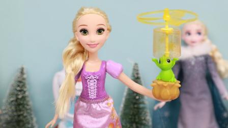 莴苣姑娘长发公主放飞天灯玩具 迪士尼乐佩公主娃娃玩具开箱