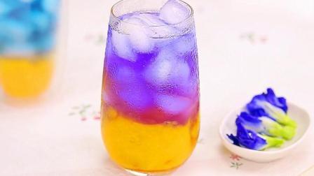 蝶豆花芒果渐层冰饮
