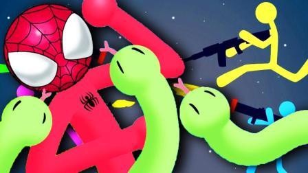 【屌德斯&小熙】 乱斗火柴人 火柴蜘蛛侠和海贼路飞制霸全场!