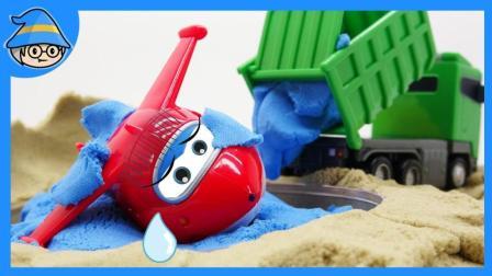 超级飞侠第二季番外, 救出掉进水坑里的飞机。在施工现场要小心翻斗车哟。