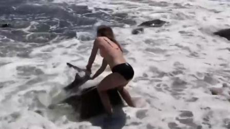 15岁少女勇救被困海滩搁浅小鲨鱼获赞