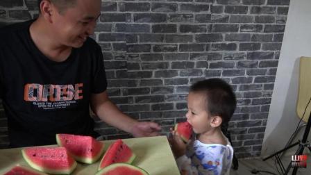 四哥直奔大伯西瓜地, 抱起两只大西瓜, 一家人吃瓜场面很温馨