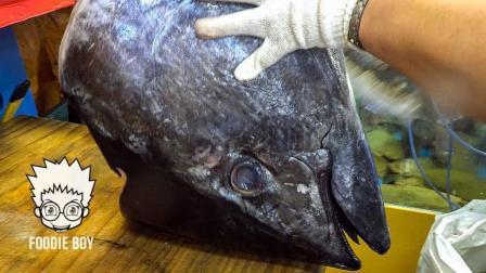 韩国街头美食: 吃新鲜的蓝鳍金枪鱼刺身, 看得流口水了