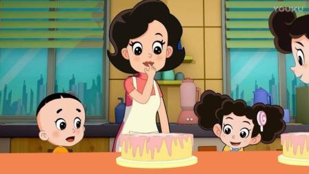 果然不出妈妈所料,围裙妈妈和小苹果妈妈学了同样的蛋糕
