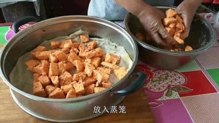 老爸干农活回来, 农村妈妈用猪肉和红薯秘制了一道美食, 看饿了