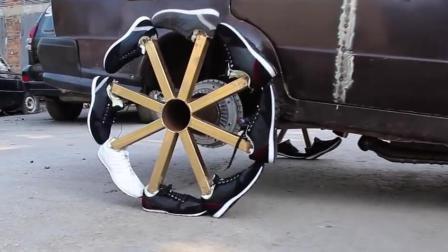 用运动鞋做轮胎? 一上路就后悔了, 汽车成了马车!
