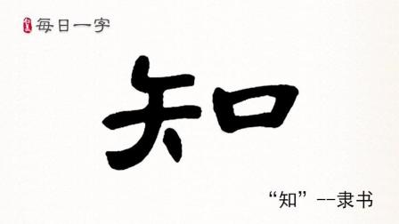 """【每日一字】隶书""""知""""字名师写作技巧讲解高清视频"""
