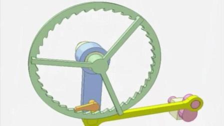 直观的机械原理, 这是一个设计巧妙的棘轮机构
