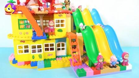 小猪佩奇欢乐滑滑梯 速度与激情儿童七彩滑滑梯积木玩具