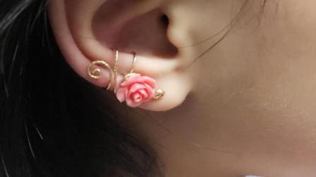 回眸工坊绕线课堂-小花朵耳骨夹