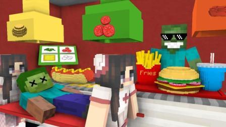 怪物学院-在汉堡店工作-我的世界动画