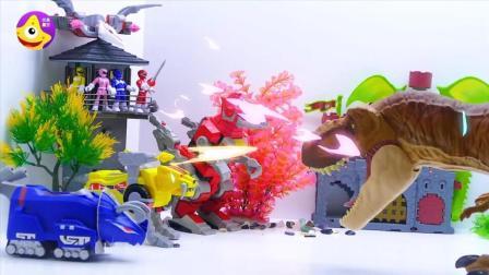 恐龙战队和机械霸王龙大战远古巨兽保护中世纪城堡