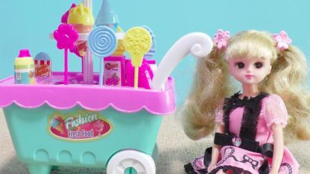 丽佳娃娃过家家手推糖果车冰淇淋车女孩玩具