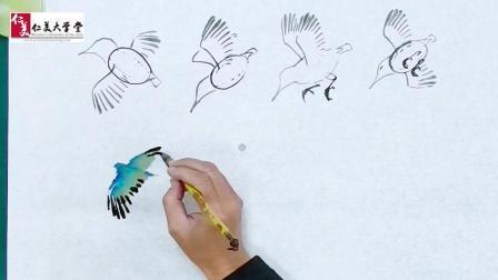 飞行中的翠鸟, 学会调色原来只用这一点笔墨就能画好 ...