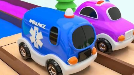 小汽车玩彩虹滑梯  认识颜色 汽车 英语启蒙   玩具游戏动画片 04