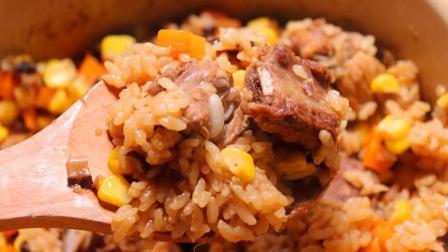 排骨焖米饭的家常做法, 把这4种食材丢进电饭煲, 晚饭一锅搞定