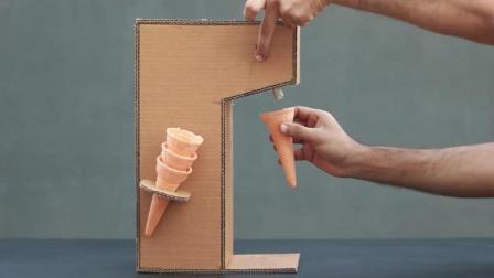 """创意纸板DIY, 教你用纸板制作""""冰淇淋机""""的方法, 简单易学"""