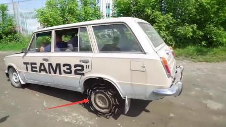 弹簧做轮胎, 减震效果杠杠的, 网友: 就是有点晕车!