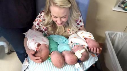 幸福的妈妈第一次把五胞胎宝宝一起抱在怀里, 我看着都替她高兴!