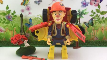 百变熊出没玩具 熊出没光头强熊熊变形车玩具拆箱