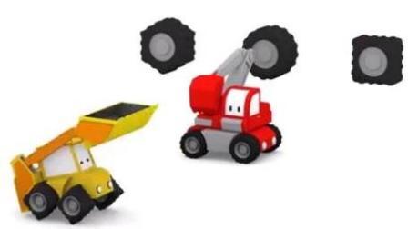 汽车城的工程车 迷你挖掘机起重机推土机建造赛道 进行赛车比赛