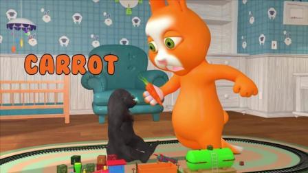 益智: 英语启蒙, 兔子照顾小金刚宝宝, 学习水果名称