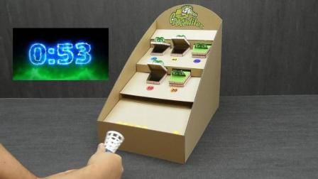 牛人用纸皮DIY的投篮小游戏, 玩起来满满的童年记忆!
