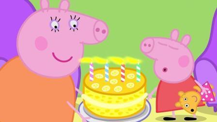 小麦英语课堂 小猪佩奇 佩奇过生日吹蜡烛吃蛋糕 简笔画