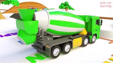 大卡车、罐车、垃圾车 装满彩球放进白色池子, 动画片