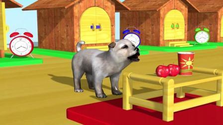 益智: 学习颜色动物名称, 狗狗和伙伴们吃苹果香蕉等水果早餐喝果汁变颜色