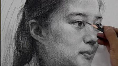 杭州厚一学堂美术教学视频第1讲-素描名师凡佳老师素描头像教学示范