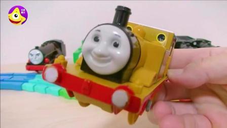 托马斯小火车海洋球轨道玩具 小火车朋友们进入海洋球