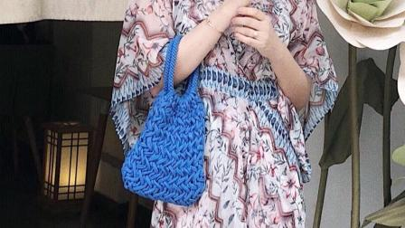 115 锡仔手编圆形包带编织时尚休闲手拿包布条线编织视频教程