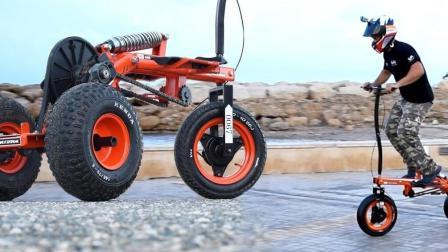 没有脚蹬子的自行车, 不用油不用电, 跳一跳就能走!