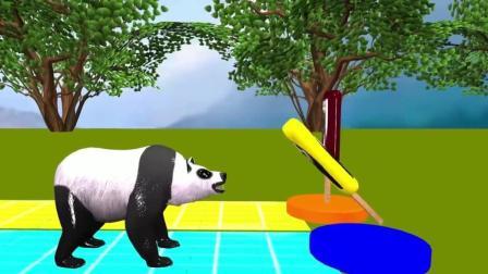 益智: 颜色启蒙, 狮子熊猫等动物吃不同色彩的冰淇淋变颜色学英语