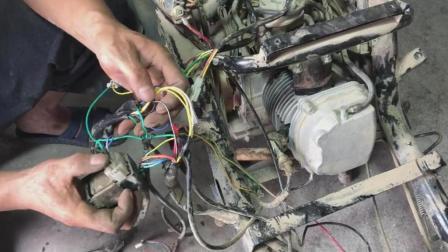 踏板摩托车整车电路拆卸讲解, 老师傅详细讲解每一根线的功能