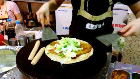 实拍早市手抓饼制作, 全程手不直接沾饼, 干净卫生营养美味!