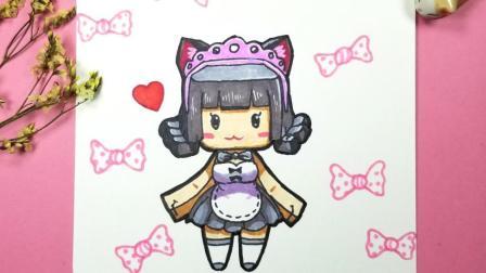 迷你世界最可爱的猫咪女仆琉璃酱, 3分钟教你画成小卡片