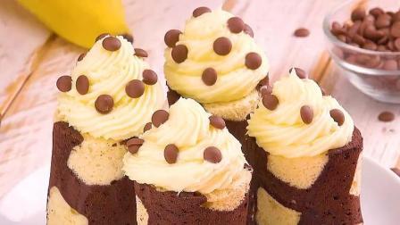 快来试试这个可爱小点心, 蓬松好吃的巧克力香蕉蛋糕卷