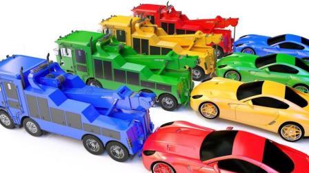 工程车带领小汽车寻找彩球认识颜色