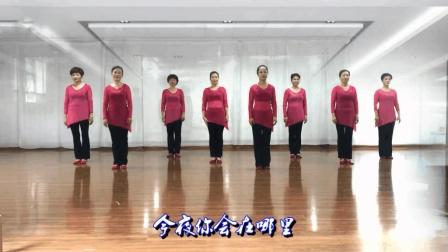 8位美女穿薄沙裙若隐若现跳广场舞《今夜你在哪里》
