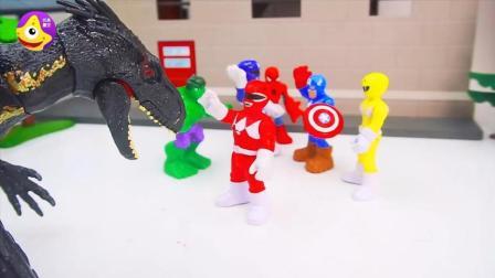 儿童故事狂暴巨兽帮助超级英雄 乔治帮助恐龙战队大战邪恶博士