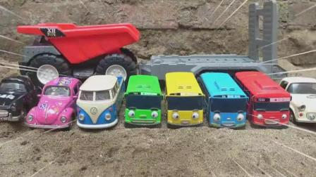 汽车巴士和垃圾车玩具试玩, 婴幼儿宝宝游戏视频H221-2