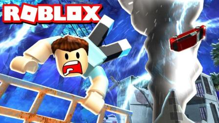 Roblox自然灾害模拟器丨开着挖掘机, 对抗龙卷风的男人!