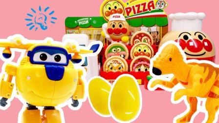 兜糖超级飞侠玩具 58 超级飞侠多多面包超人披萨店变身购物得恐龙变形蛋奇趣蛋 多多面包超人披萨店购物