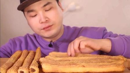 韩国吃播: 焦糖味香, 巧克力味, 奶油奶酪味道! 去角 炸油条~吃播
