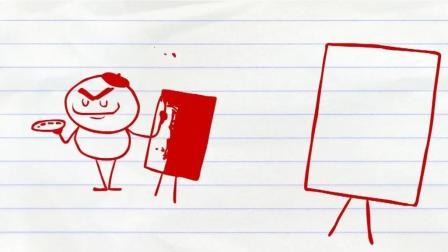 搞笑铅笔画小人: 会作画的小猫咪……