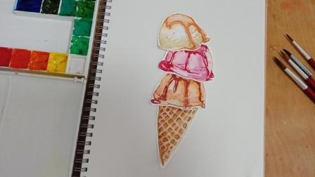 水彩画美食, 好吃到爆浆的冰激凌, 可以拿来贴手帐、手抄报