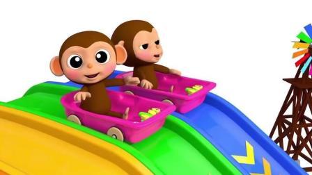 益智: 幼儿颜色启蒙, 和猴宝宝一起在水滑梯上学颜色识英语