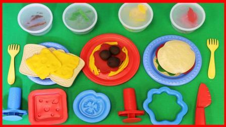 培乐多彩泥橡皮泥西餐手工玩具 DIY汉堡和面条